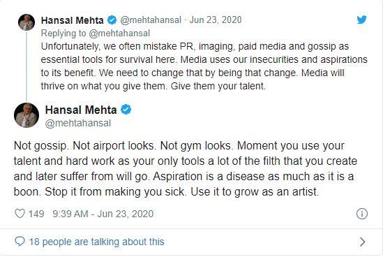 Hansal Mehta tweet on nepotism and Sushant Singh Rajput suicide