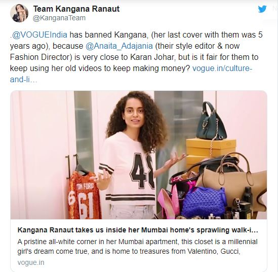 Kangana Ranaut team blaming stylist Anaita Shroff for making money using her pictures
