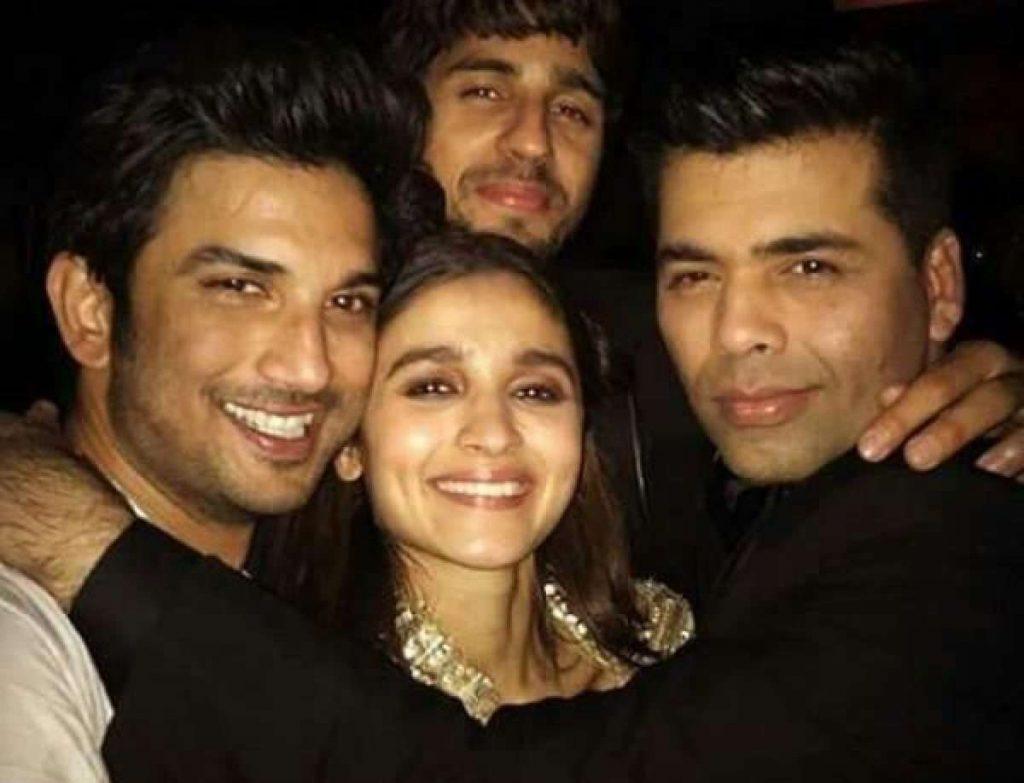 Karan Johar and Alia Bhatt with Sushant Singh Rajput