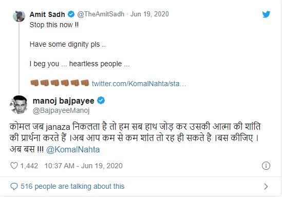 Manoj Bajpayee slams film critic for Sushant Singh Rajput suicide