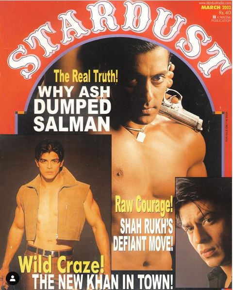 Sahil Khan with Salman Khan and Shahrukh Khan on Stardust cover