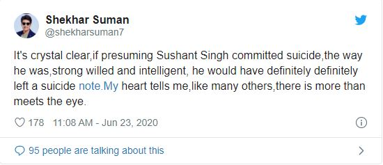 Shekhar Suman tweets on Sushant Singh Rajput suicide