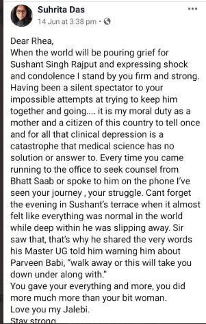 Suhrita Das facebook post saying Sushant Singh Rajput girlfriend Rhea Chakraborty would come to seek counsel from Mahesh Bhatt