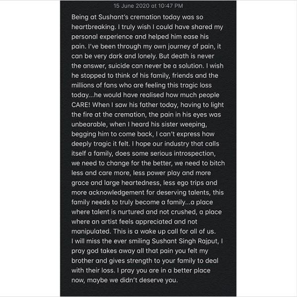 Vivek oberoi note on Sushant Singh Rajput suicide