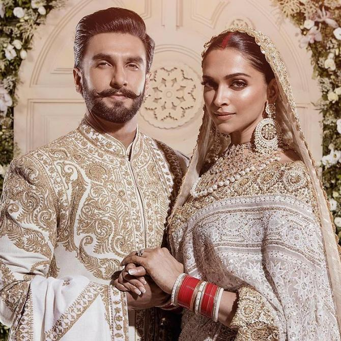 Bollywood couple Deepika Padukone alongside Ranveer Singh