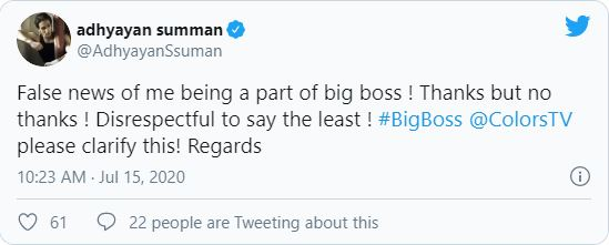 Adhyayan Summan tweet on Bigg Boss 14