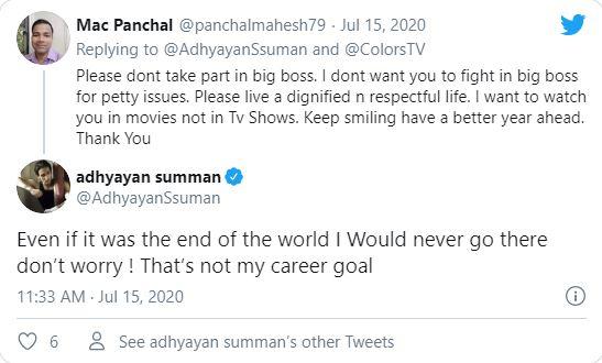 Adhyayan Summan Tweet