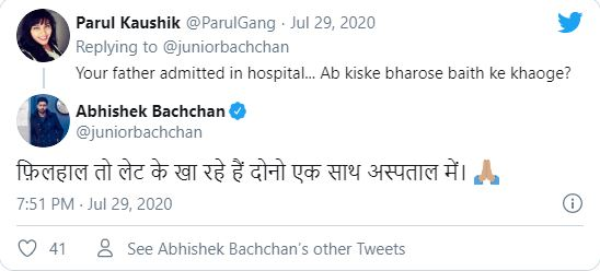 Abhishek Bachchan replied to troll