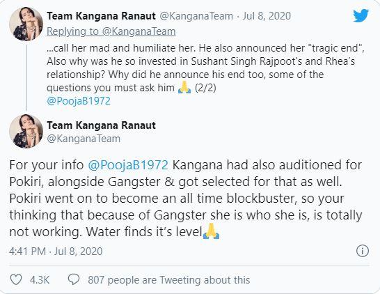 Kangana Ranaut slams Pooja Bhatt