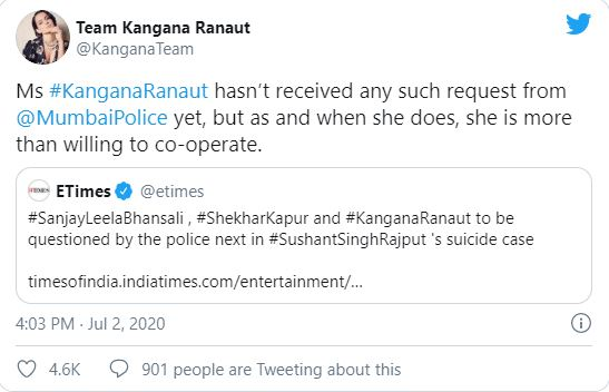 Kangana Ranaut tweet on being called by Mumbai police for interrogation in Sushant Singh Rajput suicide case