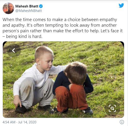 Mahesh Bhatt tweet after a month of Sushant Singh Rajput suicide