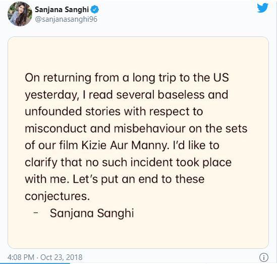 Sanjana Sanghi tweet on Sushant Singh Rajput