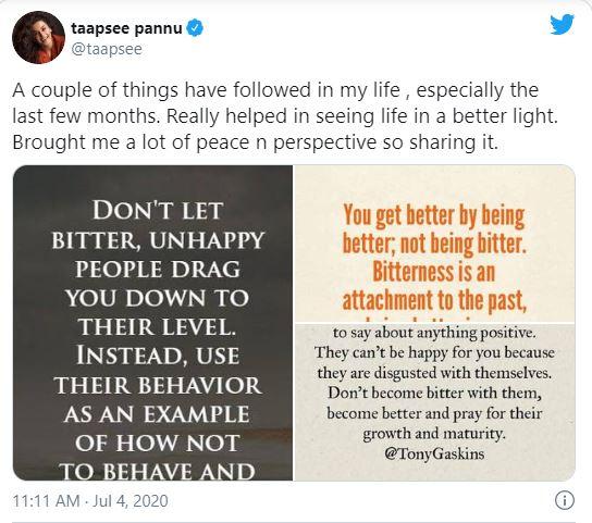Tapsee Pannu tweet on Kangana Ranaut calling her chaploos